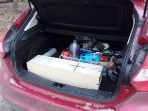 устройство для выжигания легко влезает в багажник легкового автомобиля